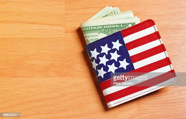 Wallet with US dollars and copy space