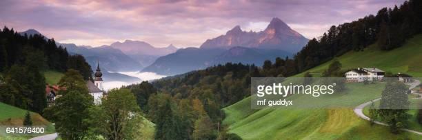 wallfahrtskirche maria-gern in berchtesgaden mit watzmann, 42mp panorama - bavaria stock photos and pictures
