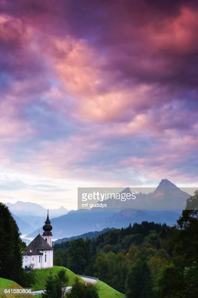 Wallfahrtskirche Maria-Gern in Berchtesgaden mit Watzmann
