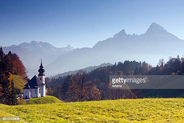 Wallfahrtskirche / pilgrimage church Maria Gern in autumn at Berchtesgaden and the Watzmann Bavaria Germany
