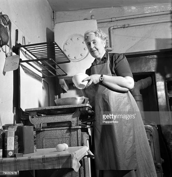 Wallingford Berkshire England British author Agatha Christie is pictured cooking at her home Winterbrook House