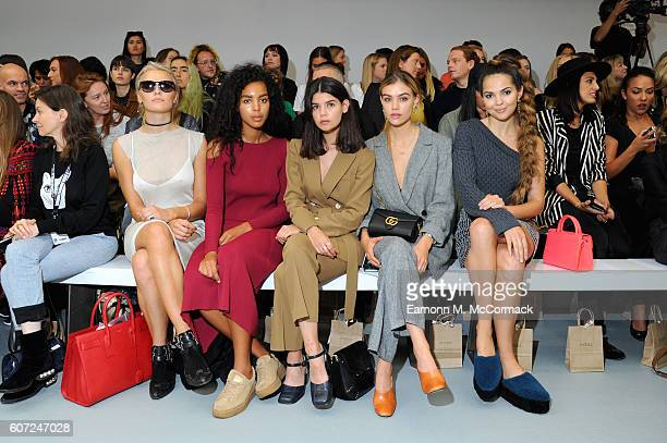 Wallis Day guest bloggers Sarah Halpin and Joanna Halpin and Doina Ciobanu attend the Barbara Casasola show during London Fashion Week Spring/Summer...