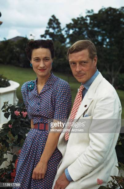 Wallis Duchess of Windsor and the Duke of Windsor outside Goverment House in Nassau the Bahamas circa 1942 The Duke of Windsor served as Governor of...
