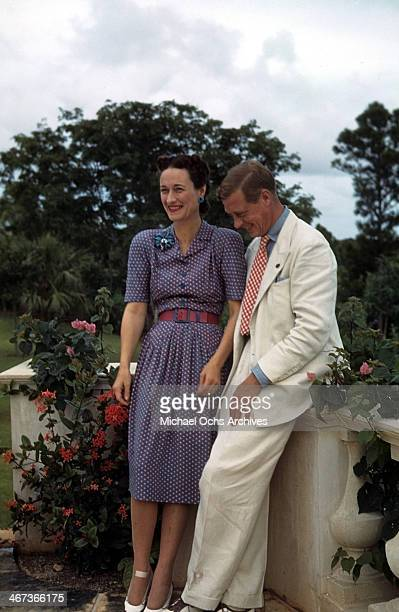 Wallis Simpson Duchess of Windsor and Prince Edward Duke of Windsor at the Government House in Nassau Bahamas circa 1942 Wallis SimpsonPrince Edward