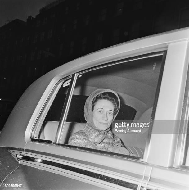 Wallis Simpson, the Duchess Of Windsor in London, UK, 24th February 1965. She is in the capital to accompany the Duke of Windsor, former King Edward...
