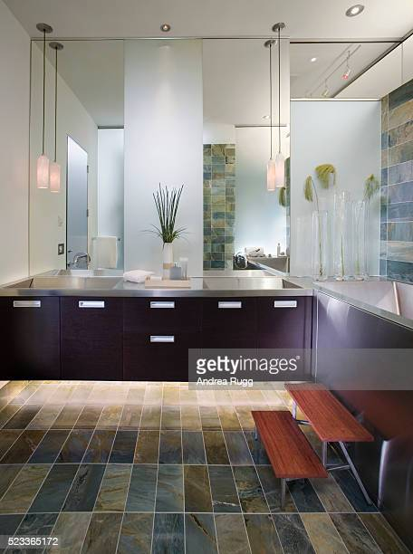 Wall-mounted Vanity with Double Sinks in Contemporary Bathroom