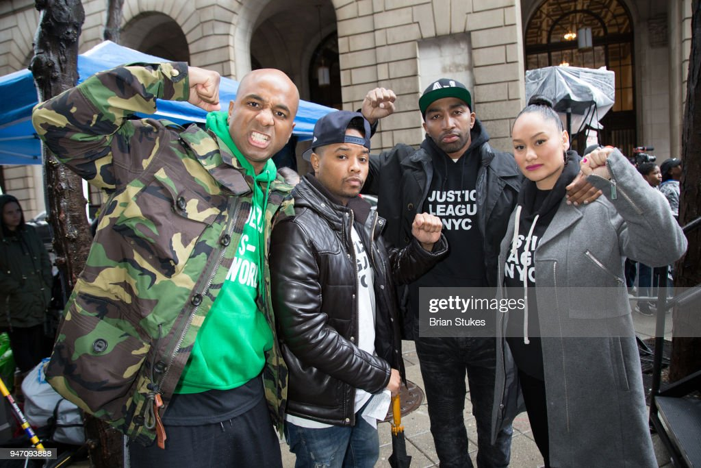 Wallo, Angelo Pinto, Mysonne and Clarise McCants attend a rally protesting the imprisionment of Meek Mill outside the Philadelphia Criminal Justice Center during the rapper's status hearing on April 16, 2018 in Philadelphia, Pennsylvania.