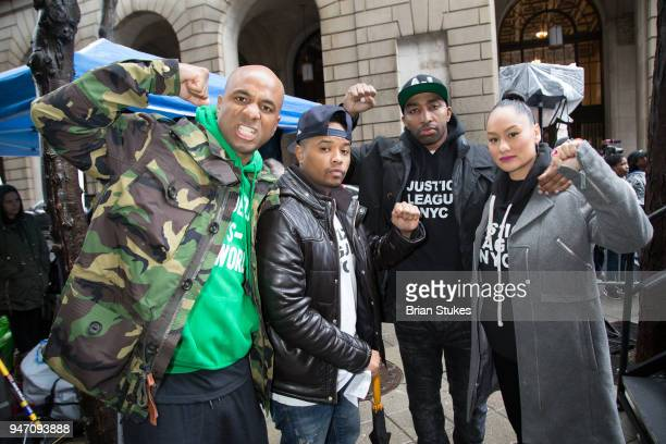 Wallo Angelo Pinto Mysonne and Clarise McCants attend a rally protesting the imprisionment of Meek Mill outside the Philadelphia Criminal Justice...