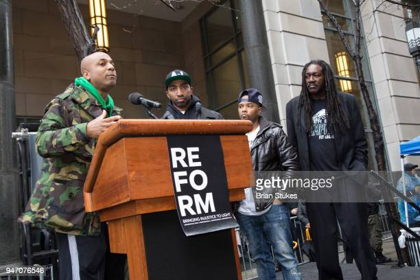 Wallo attends Meek Mill supporters protest on day of status hearing at Philadelphia Criminal Justice Center on April 16 2018 in Philadelphia...