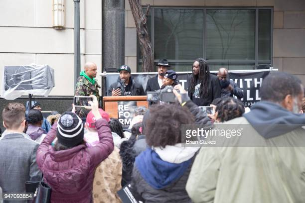 Wallo Mysonne Angelo Pinto and J Jondhi Harrell attend a rally protesting the imprisionment of Meek Mill outside the Philadelphia Criminal Justice...