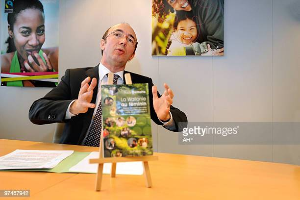 """Walloon Minister President Rudy Demotte gestures during a press conference to present his new book """"La Wallonie au feminin. Peut-on accepter que..."""