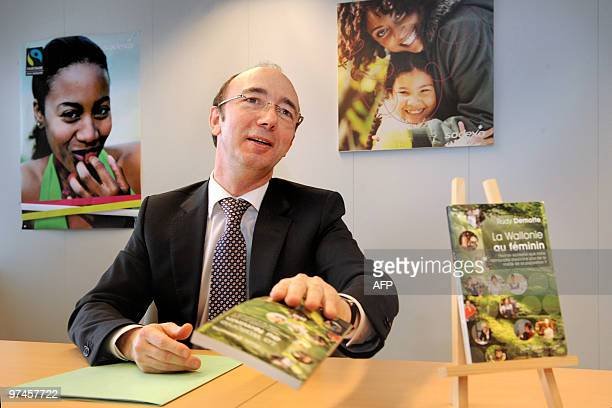 """Walloon Minister President Rudy Demotte speaks during a press conference to present his new book """"La Wallonie au feminin. Peut-on accepter que notre..."""