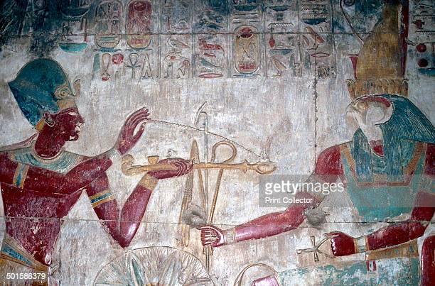 Wallpainting of Sethos I before Horus The Horus Chapel Temple of Sethos I Abydos Egypt 19th Dynasty c1280 BC