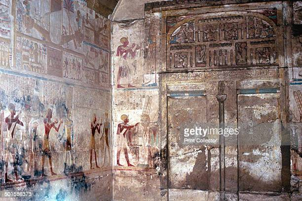Wallpaintings and False Doors, Temple of Sethos I , Abydos, Egypt, 19th Dynasty, c1280 BC. Sethos I making offerings to Osiris, Sanctuary of Osiris.
