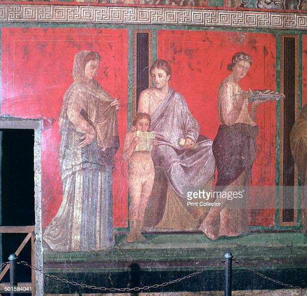 Wallpaintings from the Villa of the Mysteries in Pompeii showing scenes of initiation into the rites of Dionysus 1st century