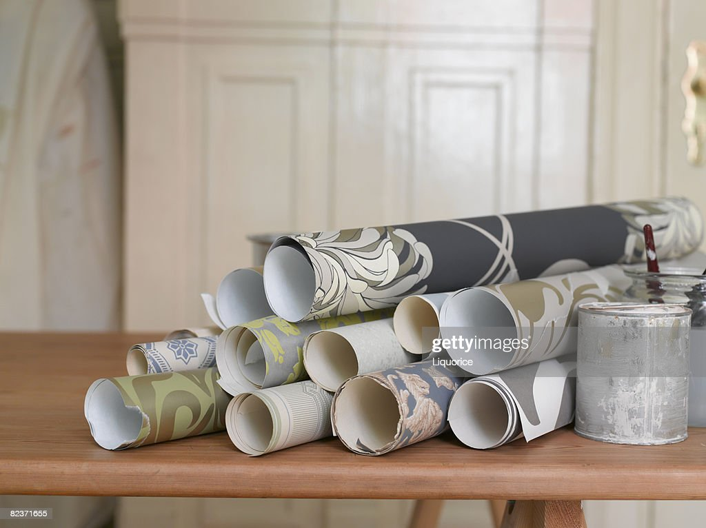 wallpaper on decorating table : Stock Photo