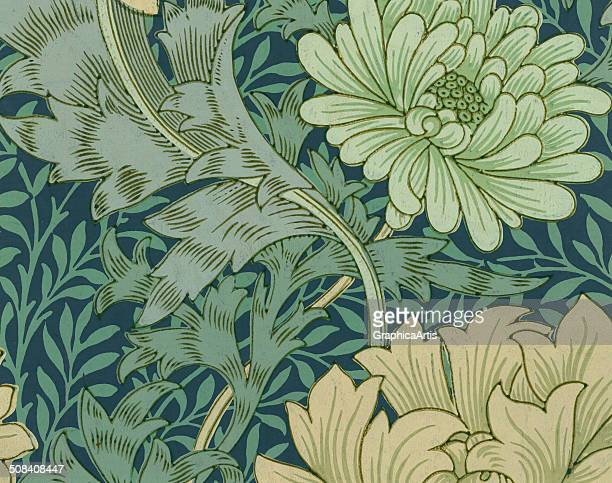 Wallpaper sample with a chrysanthemum and acanthus leaf design by William Morris woodblock print 1877