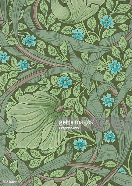 Wallpaper sample with forgetmenot flowers and ranunculus leaves by William Morris woodblock print 1877
