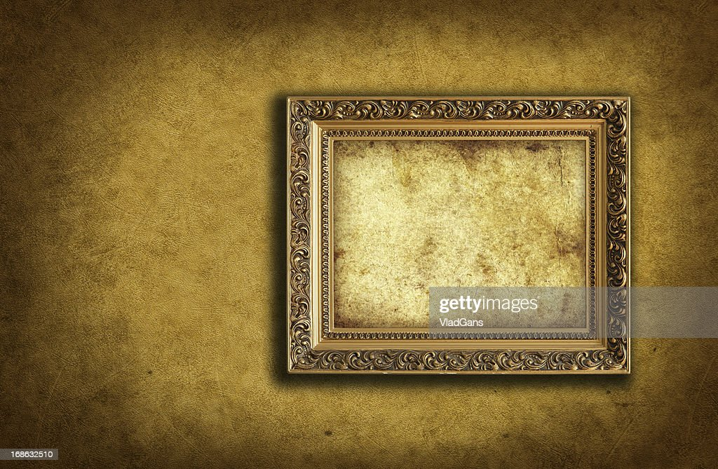 wallpaper with empty picture frame : Stock Photo