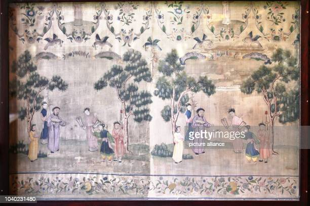 Wallpaper with silk painting in the Chinese Room of Schloss Waldenburg palace, in Waldenburg Germany, 29 April 2015. Since 2005, 8.5 million euro has...