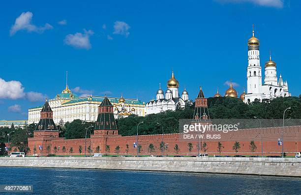 Walls and towers of the Kremlin seen from the Moskva River Moscow Russia