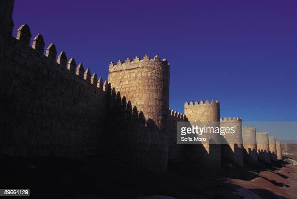 Walls of Avila Avila Panoramic view of the walls a rectangular enclosure of 2500 meters with 90 turrets and 9 access doors the best example of...