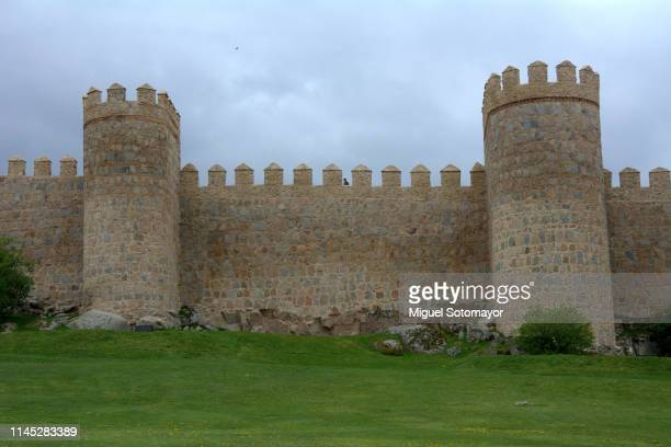 walls of avila - fort stock pictures, royalty-free photos & images