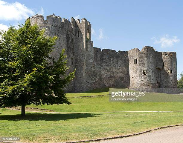 Walls of Chepstow Castle Monmouthshire Wales UK