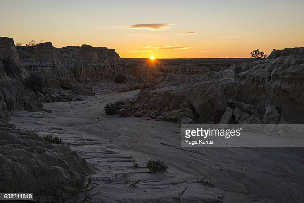 Walls of China in Mungo National Park at Sunset