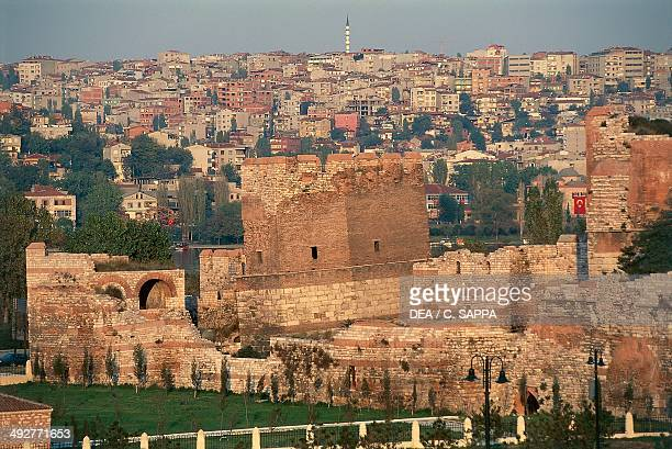 Walls of Constantinople and the city Istanbul Turkey