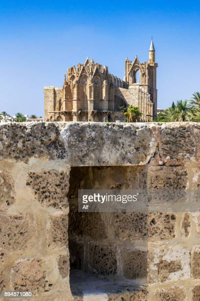Walls of Famagusta with the Cathedral of St. Nicholas or Lala Mustafa Mosque in the background, Famagusta, Cyprus
