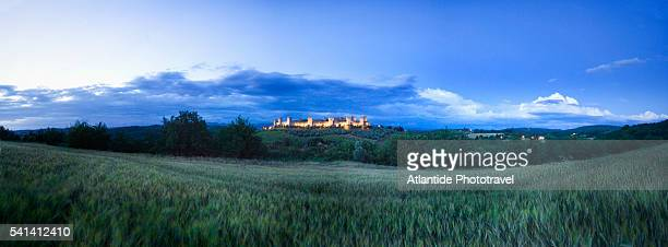 Walls of Monteriggioni on a hill in Tuscany