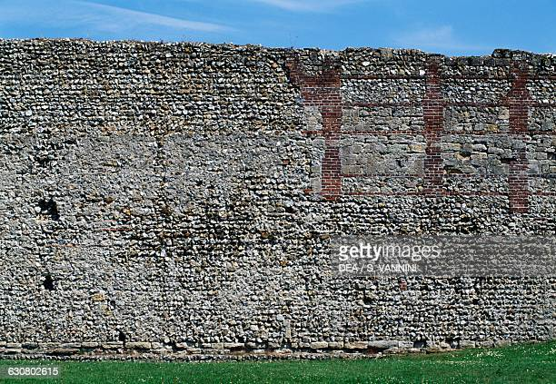 Walls of Portchester Norman Castle detail Hampshire England United Kingdom 11th century