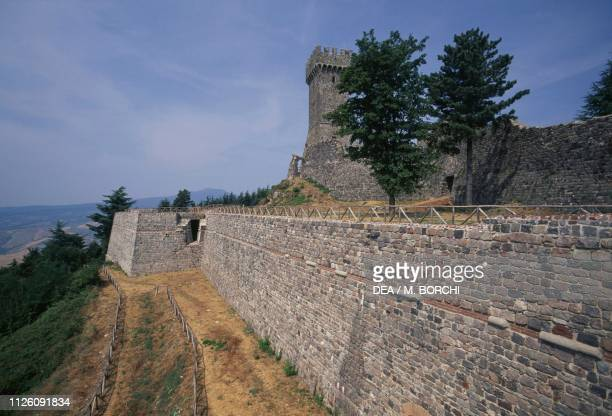 Walls of Radicofani Fortress, Val d'Orcia Park of Art, Nature and Culture , Tuscany, Italy, 10th-13th century.
