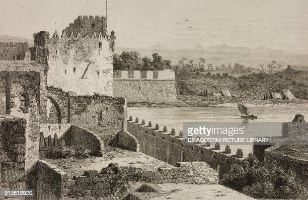 Walls of Saint Jean d'Acre Acre Israel engraving by Lemaitre Lalaisse and Montaut from Turquie by Joseph Marie Jouannin and Jules Van Gaver L'Univers...