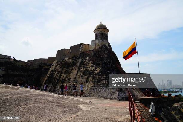 Walls of the Fortress, People, Flag of Colombia, Cartagena, Colombia