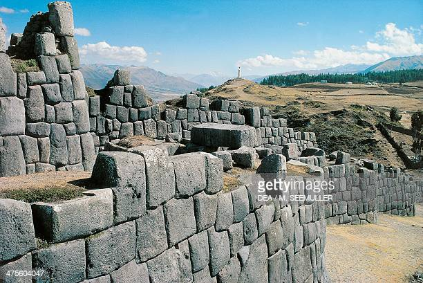 Walls of the Saksaywaman Walled Complex Cuzco Peru Inca Civilisation 15th century