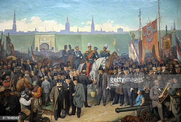 Walls start demolition. Ceremony Riga City, November 15, 1857. Artist Julius Gottfried Siegmund . Museum of History and Navigation, Riga, Latvia.