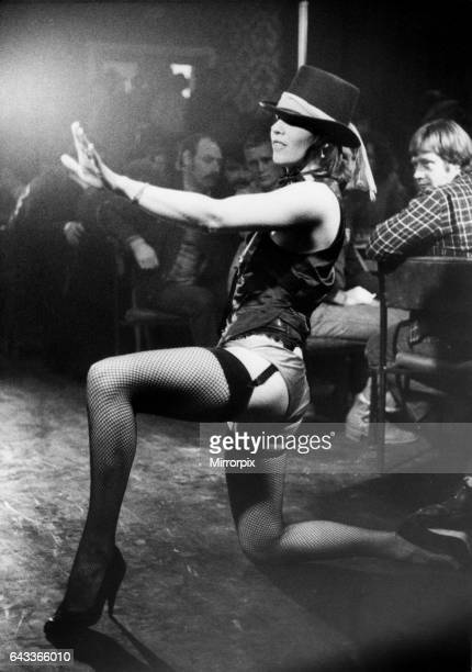 Wallsend based stripper Danielle performing her burlesque routine in a North East workingman's club Monday 8th December 1980