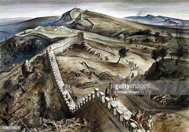 Walltown Crags Hadrian's Wall c2nd century Reconstruction drawing A defensive fortification in the Roman province of Britannia begun in 122 AD in the...