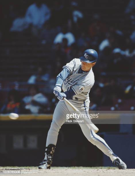 Wally Joyner First Baseman for the Kansas City Royals at bat during the Major League Baseball American League West game against the California Angels...