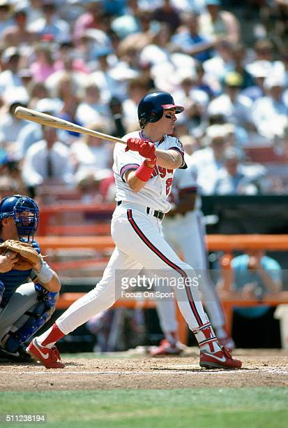 Wally Joyner of the California Angels bats during an Major League Baseball game circa 1986 at Anaheim Stadium in Anaheim California Joyner played for...