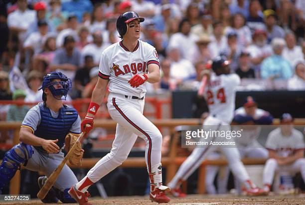 Wally Joyner of the California Angels follows his hit during a May1990 season game Wally Joyner played for the California Angels from 19861991