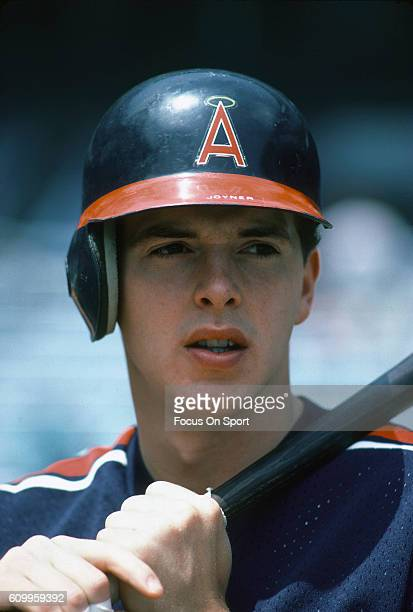 Wally Joyner of the California Angels looks on during batting practice prior to the start of a Major League Baseball game against the New York...