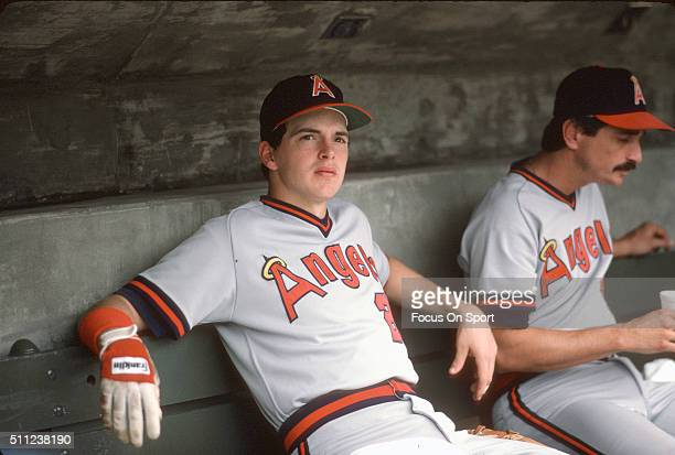 Wally Joyner of the California Angels looks on from the dugout during an Major League Baseball game circa 1986 Joyner played for the Angels from...