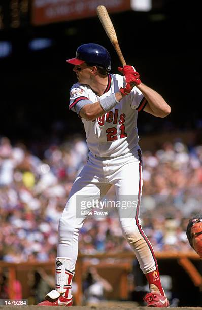 Wally Joyner of the California Angels waits for the pitch during their 1989 season game at Anaheim Stadium in Anaheim California