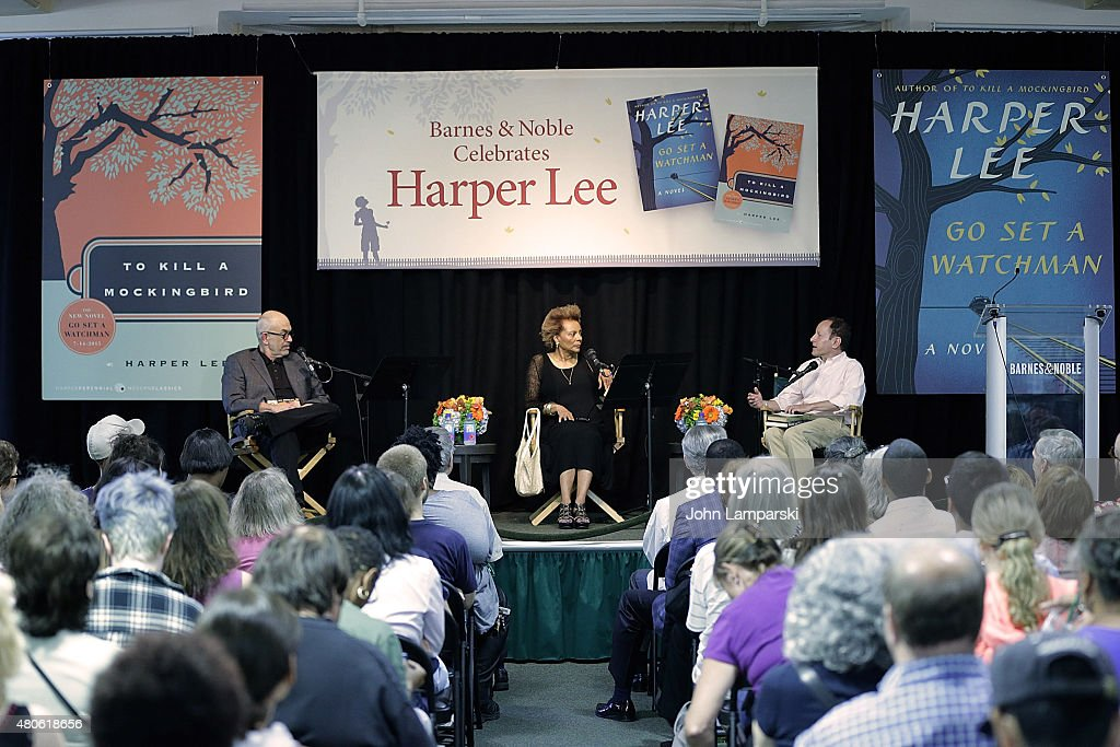 Wally Lamb, Leslie Uggams and Bill Goldstein speak during the Harper Lee celebration with Wally Lamb and Leslie Uggams in conversation with Bill Goldstein at Barnes & Noble Union Square on July 13, 2015 in New York City.