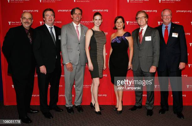Wally Lamb, Tom Carroll, Matthew O'Grady, Michele Lee Wiles, Marcia Gay Harden, Thomas L. Harrison and Jack Lund pose during the YMCA of Greater New...