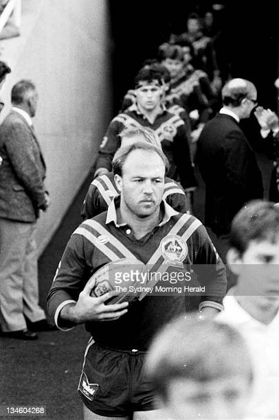 Wally Lewis Captain of the Australian Rugby League team lead his players onto the field for the test against Great Britain at the Sydney Cricket...