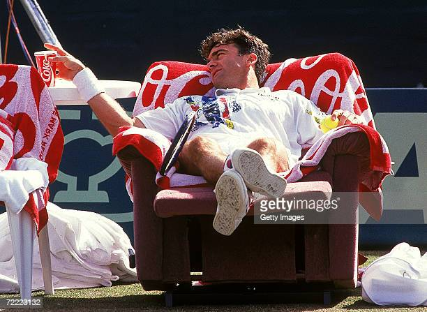 Wally Masur of Australia relaxes after defeating Brad Gilbert of the USA during the Davis Cup Tie between Australia and the USA in Melbourne Australia